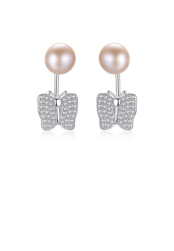 Glamorousky white 925 Sterling Silver Elegant Shining Butterfly Pink Freshwater Pearl Earrings with Cubic Zirconia 849B3AC059FE33GS_1