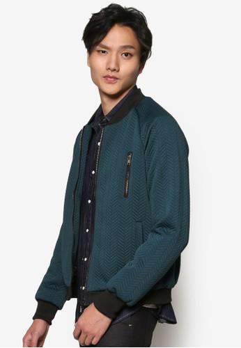 針織暗esprit台灣紋拉鍊棒球外套, 服飾, 男性服飾