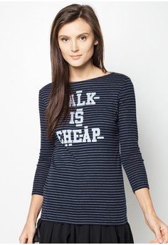 Talk Is Cheap Striped Long Sleeve Tee