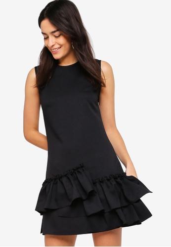 ZALORA black Ruffle Hem A-Line Dress 0B7E8AA61300DBGS_1