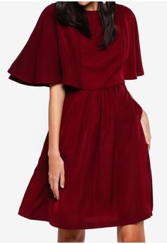 5241ee1c90 ZALORA red Cape Sleeves Pocket Dress 112C6AAF58FE26GS 1