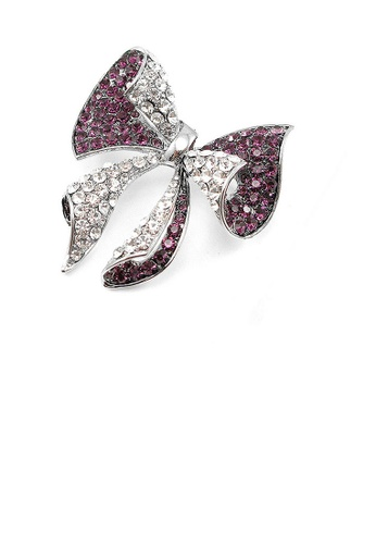 Glamorousky silver Elegant Ribbon Brooch with Purple and Silver Austrian Element Crystal 5FD2BAC5D656E7GS_1