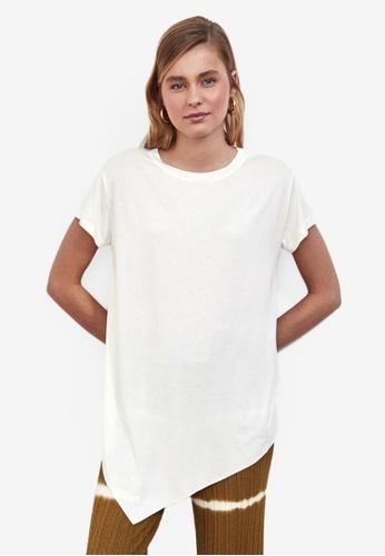 Trendyol white Asymmetrical Loose Fit Tee DC634AA881D726GS_1