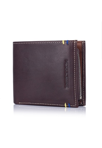 ENZODESIGN brown and multi New Design Italian Leather Wallet with Zip Coin Compartment EN357AC0GI24SG_1