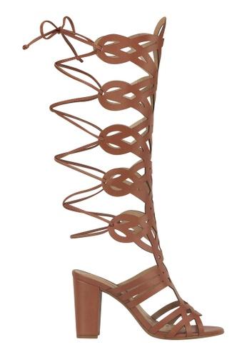 Beira Rio brown Block Heeled High Tie Up Gladiator BE995SH13EREHK_1