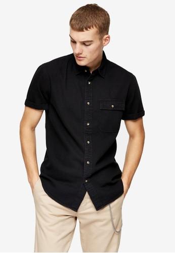Topman black Black Rigid Denim Slim Shirt 6D42DAAB37F2CEGS_1