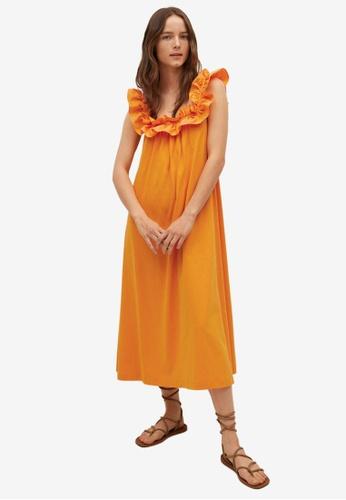 Mango 橘色 Frill Cotton Dress 852D3AA1899F8AGS_1