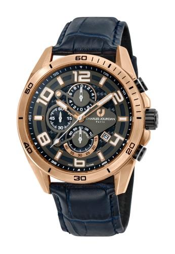Charles Jourdan blue Charles Jourdan Men CJ1046-1585C Blue Genuine Leather Watch EFACBACCB2ECFDGS_1