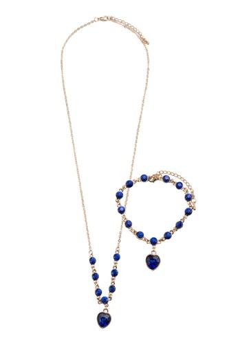 Enjesprit 台北oy 水鑽心形吊墜首飾組合, 飾品配件, 項鍊