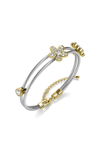 Her Jewellery silver Flowery Bangle - Made with premium grade crystals from Austria HE581AC0RDQPMY_1