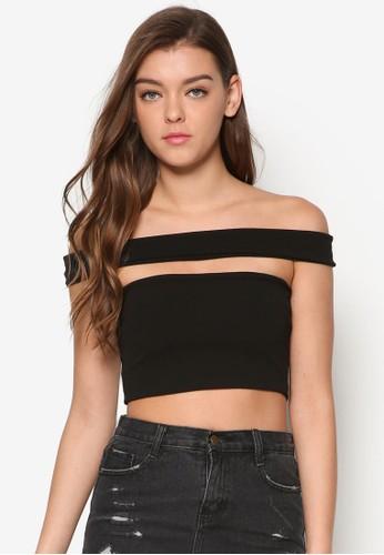 鏤空平口短版T-shirt、 服飾、 上衣MISSGUIDED鏤空平口短版上衣最新折價