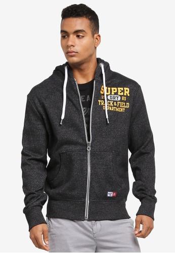 Superdry black TRACKSTER ZIPHOOD 3D6C2AA01888EDGS_1
