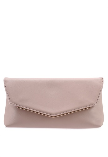 Buy Dorothy Perkins Nude Metal Bar Clutch   ZALORA HK 3ea5969ec1