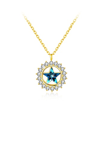 Glamorousky blue 925 Sterling Silver Gold Plated Star Pendant with Austrian Element Crystal and Necklace CAB0DAC96B5118GS_1