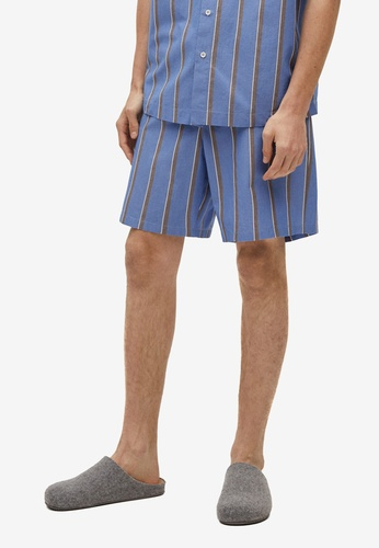 MANGO Man blue Striped Cotton Pyjama Shorts C7C04AA08827F2GS_1
