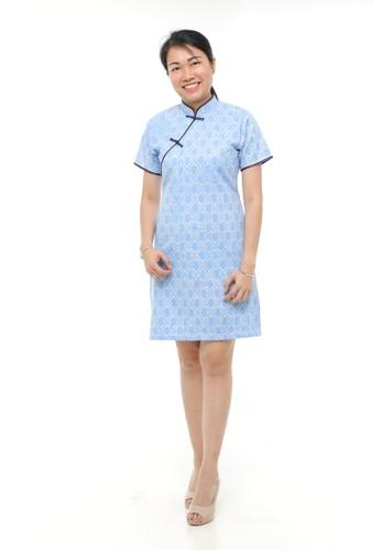 AYAYU white and blue ONGLAI CNY Women Cheongsam Cotton Handblocked Batik Blue B06A0AA79B3268GS_1