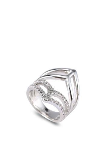 Wanderlust + Co silver Geo Armour Crystal Silver Ring WA415AC0SAGSMY_1