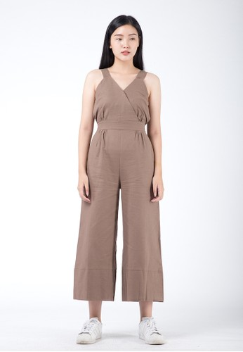 Simplify beige and brown Rexa Jumpsuit Dark Brown 2C8C4AA8777197GS_1