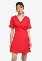 Something Borrowed red Wrap Mini Dress With Ruffles E1DFEAAE1DA9C6GS_1