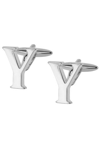 CUFF IT silver Initial Alphabet Y Cufflinks CU047AC2VHG9HK_1