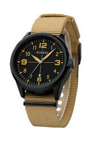 curren brown Curren 8195 Men's Sports & Casual Nylon Strap Watch ( Light Brown) CU537AC99SZWMY_1