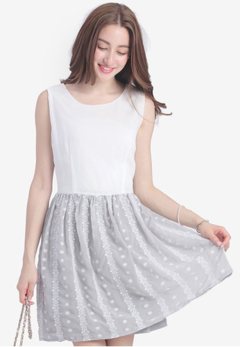 Yoco grey Dress with Embroidered Skirt 57E51AA43F0EF8GS_1