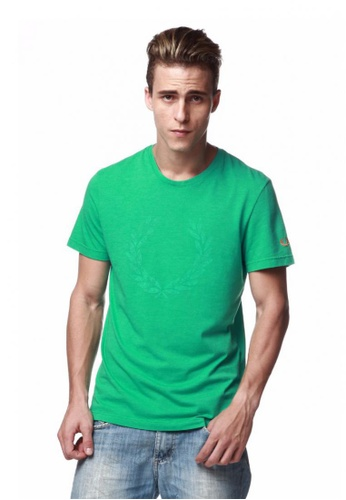 Fred Perry Green Label green Green Tee Shirt with Big Laurel Print FR595AA29KXAMY_1