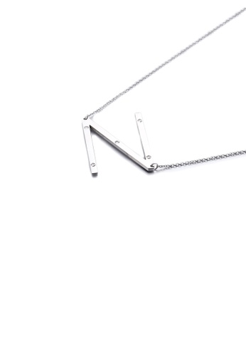 Glamorousky white Simple Personality English Alphabet N 316L Stainless Steel Pendant with Cubic Zirconia and Necklace 7BAEBAC2DD8C9FGS_1