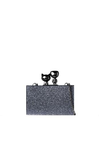 KARL LAGERFELD black K/Ikonik Metallic Minaudiere 3F24BAC049C59AGS_1