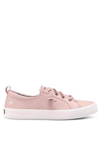 SPERRY pink Crest Vibe Ap Crepe Leather Slip Ons C1C02SHBCCA2B1GS_1