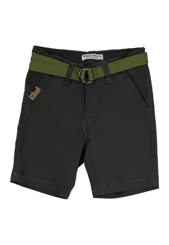 Grizzly grey Boys Infant Twill Shorts With Belt and Welt Pocket 8625AKA4D01245GS_1