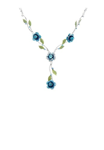Glamorousky blue Elegant Rose Necklace with Blue Austrian Element Crystals BA157AC7DDB952GS_1