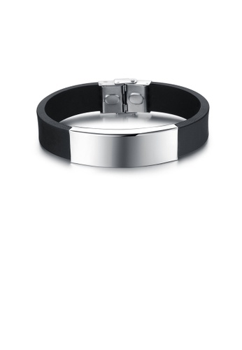 Glamorousky silver Fashion Classic Glossy Geometric 316L Stainless Steel Silicone Bracelet 95644ACD0A789DGS_1