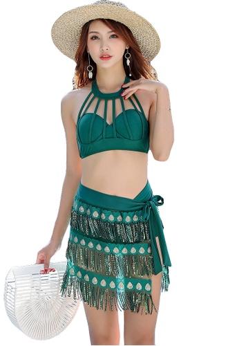 YG Fitness green (3PCS) Ethnic Wind Sparks Bikini Swimsuit Set 0FCDEUS6D64BB0GS_1