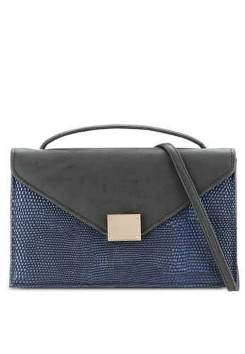 ZALORA navy Textured Square Lock Sling Bag C7922ZZ7E38183GS_1