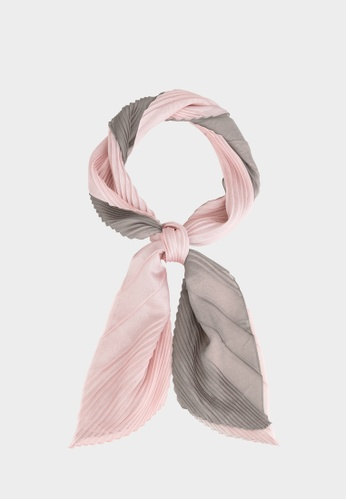 Pomelo pink Pleated Triple Tone Scarf - Light Pink 9AF25AAAE31378GS_1
