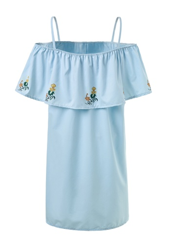 hk-ehunter blue Camisole Off-shoulder Flowers Embroidery Dress 964A2AA831B116GS_1