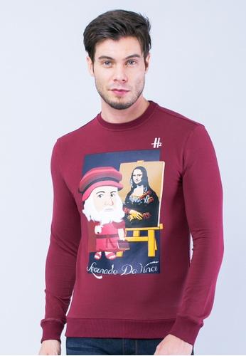 H2 by LEEYANARAHMAN red H2 Sweatshirt of Leonardo Da Vinci LE767AA0T0PHMY_1