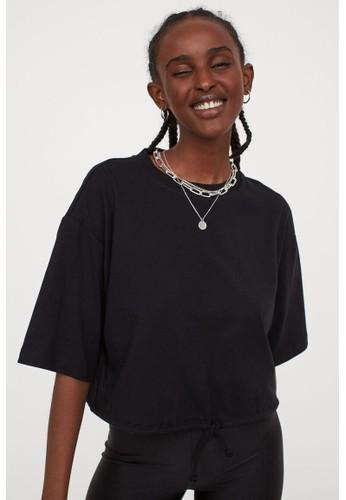 H&M black Drawstring T-shirt 0A667AA672A111GS_1