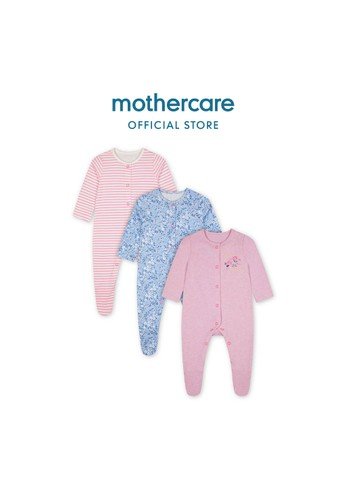 Mothercare multi Mothercare Baby Sleepsuits - Baju Tidur Bayi butterfly Multicolour - 3 pack 9E3D4KA9AA6369GS_1