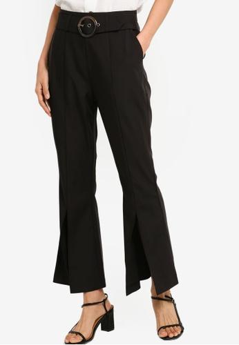 ZALORA 黑色 Flare Leg Pants With Slit Details 66E31AAED1253DGS_1