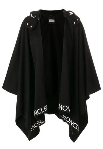 Moncler black Moncler logo trim Cloak in Black 30FCDAA15BDF99GS_1