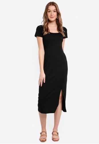 ZALORA BASICS black Basic Short Sleeves Midi Dress 5F9EDAA1E4EFE0GS_1