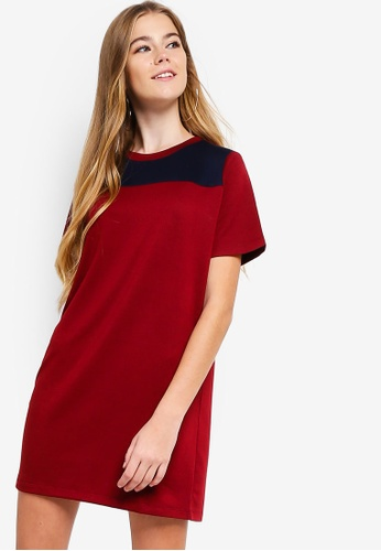 Something Borrowed red Colorblock Panel Tee Dress 5AF93AA1E78F75GS_1