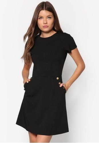 鈕扣口袋A 字zalora鞋子評價連身裙, 服飾, 正式洋裝