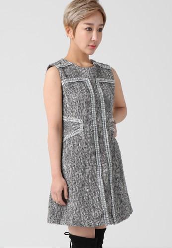 韓流時尚 花呢無袖連衣esprit hk分店裙 F4104, 服飾, 及膝洋裝