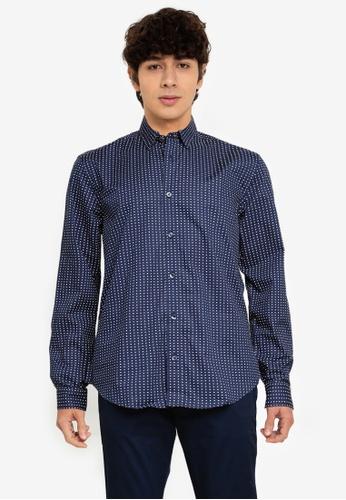 Ben Sherman blue Spot Print Shirt 8350DAA4CA681CGS_1