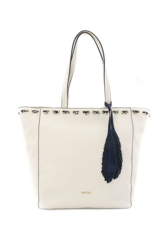 SEMBONIA white SEMBONIA Coated Canvas Trimmed Leather Tote Bag (White) SE598AC0S84QMY_1