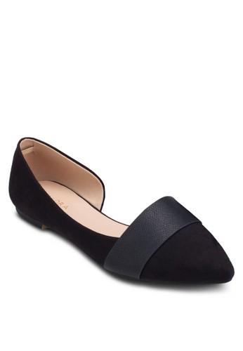 側鏤空esprit服飾尖頭平底鞋, 女鞋, 鞋