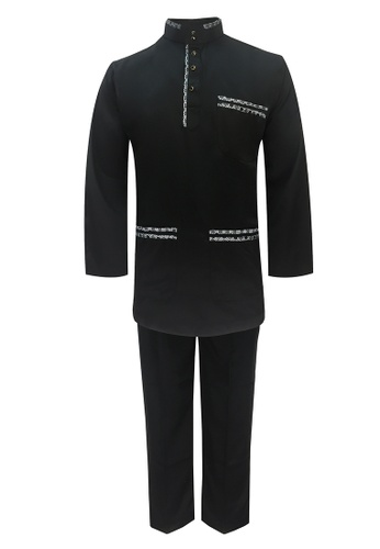 Pacolino black Baju Melayu Cekak Musang with pants For Kids - BM37038 (Black) 76CD5KABB7CCE4GS_1